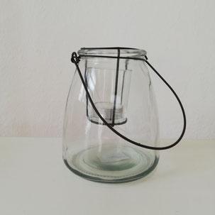 Windlicht Glas mit Einsatz und Metallhenkel als Tischdekoration aus Dekoverleih in Bielefeld