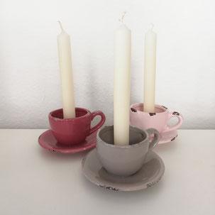 großer pinker Kerzenleuchter als Tischdekoration zum Verleih von Dekoration für Gäste