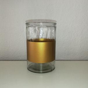 Glaszylinder mit goldenem Streifen als Tischdekoration für Geburtstag oder Feier in Bielefeld