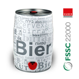 5 Liter Partyfass Bierfass Bierdose Metallverpackungen HUBER Packaging FSSC 22000