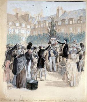 """Victor Hugo plantant un """"Arbre de la Liberté"""", Paris place des Vosges, le 2 Mars 1848"""