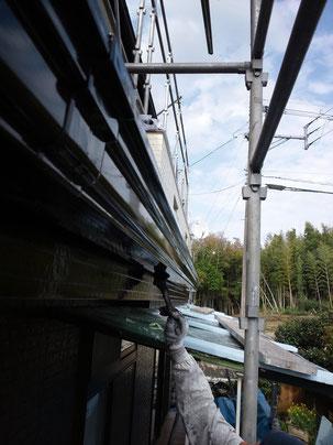 熊本K様家の樋塗装状況。カラー:ブラウン