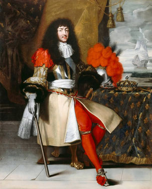 König Ludwig XIV. von Frankreich (1638-1715) als junger Regent mit roten Seidenstrümpfen