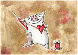 Illustration de l'artiste Nac pour La Rafistolerie qui répare et entretient les coeurs motœurs à Nantes