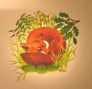 Rotfuchs, Abtönfarbe auf Mineralputz, 90 x 80 cm.