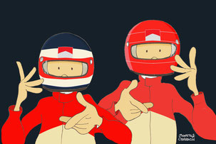 Barrichello & Schumacher by Muneta & Cerracín