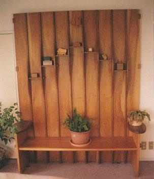 トールベンチ 組み立て式 飾り棚つき