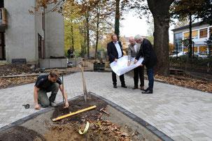 Hinten v.l.n.r.: Remy Reuter (Leiter Gerricusstift), Michael Brockerhoff (Vorstandsvors. Bürgerstiftung Gerricus) und Harald Blank (Landschaftsarchitekt); im Vordergrund kniet Landschaftsgartenbaumeister Thomas Dluzak.