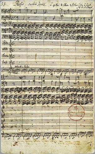 Autograph der ersten Seite der Johannes-Passion