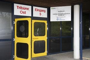 Eingang Corona Behandlungszentrum Sportparadies. Foto Stadt Gelsenkirchen