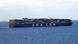 Bild: Containerschiff mit israelischer Flagge