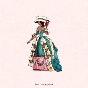 A woman wearing a teal Robe à la Francaise over a pink skirt, as well as a large cap on her hair. Nina Möller
