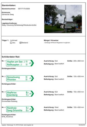 Detailplanung Standortdatenblatt Wegweiser Beschilderung Kataster Materialbestellung
