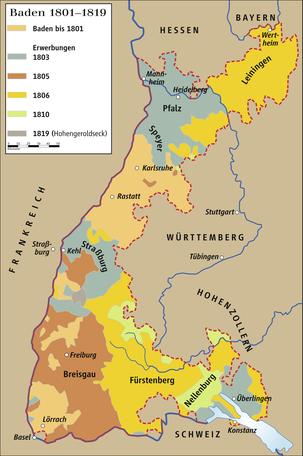 Territoriale Vergrößerung Badens in der napoleonischen Zeit