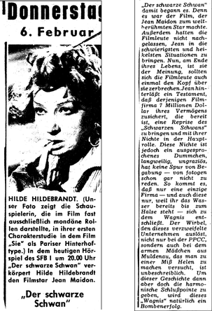 Unbekannte Radiozeitung, 6.2.1958