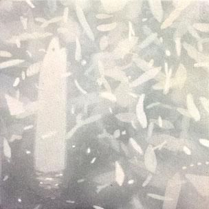 うつほらへ no.3 100×100mm アクリル絵具、MDF(ボード)