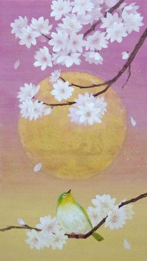 中上佳子「春の宵」和紙・岩絵具・金箔M4