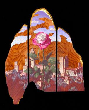 塔と薔薇の記憶 36×30㎝ テンペラ、油彩、木、箔他