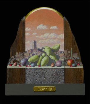 追憶の果実 19×16㎝ テンペラ、油彩、木、パネル、箔他