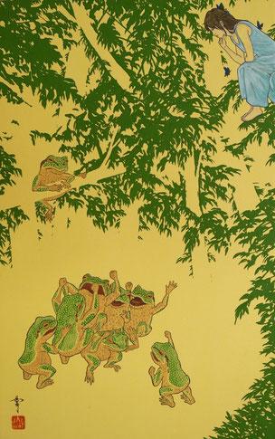 「ざわめき」 M10 土佐麻紙・膠・胡粉・岩絵の具