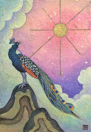 """Dazzling bird""  22.7×15.8 cm Mica Wall Painting. Framed."