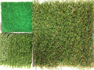 右の芝生が今回使用した人工芝 品質の違いが一目瞭然