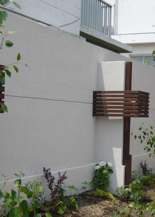 After ブロックにモルタル下地施工後に塗装を施して仕上げた塀