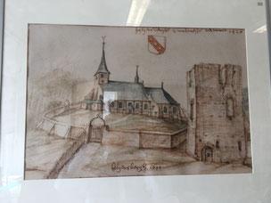 Ruïne van het kasteel van Hillegersberg. Tekening door R. Roghman rond 1645.  (Collectie Hillegondakerk)