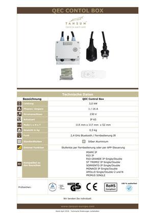 Technische Informationen Tansun Bluetooth Dimmer