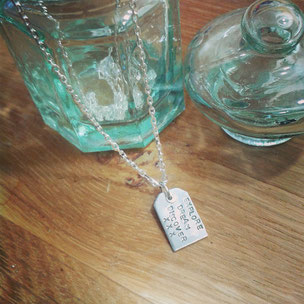 Emma Hedley Jewellery Silver Luggage Label Necklace, inspired by Paddington Bear