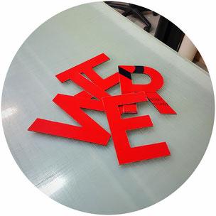 Fräsbuchstaben gefräste Buchstaben Fassadenbeschirftung CNC Fräsen StyleWerk Werbetechnik