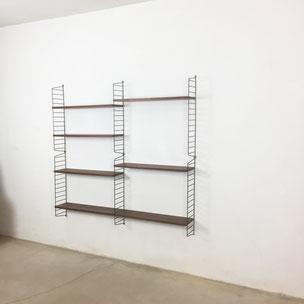 teak wall unit - Nisse Strinning for String Design AB Sweden | 1960s midcentury modern danish modern art hollywood regency yourhomeplus