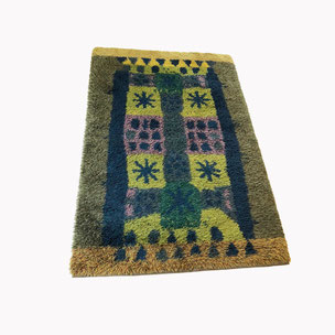 multicolor scandinavian Rya Rug 140x210cm Arne Lindaas for Sellgren AS Norway | 1970s  high pile rug - made by DESSO 225cm diameter Netherlands | 1970s