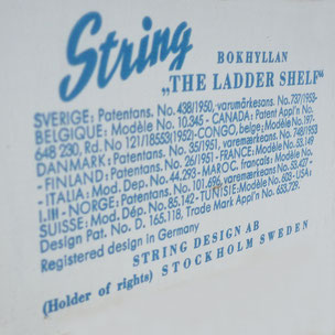 "Nisse Strinning - STRING - Bokhyllan ""The Ladder Shelf""   The architect Nisse Strinning was born in 1917. From 1940 to 1947 he studied architecture in Stockholm, before he designed the legendary String shelving system. Since its launch in 1949, the String"