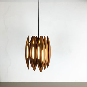 """Kastor""  copper pendant Light by Jo Hammerborg Fog & Mørup, Denmark of 9 wall disc lights 