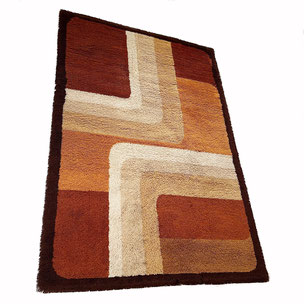 multicolor scandinavian Rya Rug 140x210cm Arne Lindaas for Sellgren AS Norw high pile rug - made by DESSO 200x300cm Netherlands | 1970s midcentury modern mcm interior design psychedelic rug carpet 1stdibs 70s 60s 1970s 1960s  yourhomeplus yourhomeplus.de