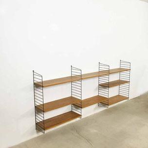 wall unit | elm wood - Nisse Strinning for STRING AB  Sweden | 1960s string regal