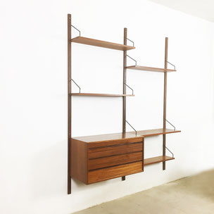 yourhomeplus interior design vintage midcentury modern danish denmark 60s 70s design hollywood regency  art teak cado cadovius wall unit teak