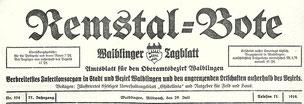 Remstalbote. Nachfolgezeitung des Intelligenzblatts für den Oberamtsbezirk Waiblingen und Umgebung. 1873-1899.