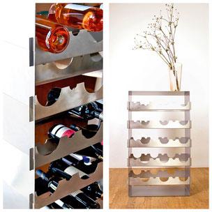 Das Weinregal Grand Cru überzeugt durch hochwertiges Design und beste Verarbeitung. Die Umsetzung aus Edelstahl spricht für Qualität und garantiert Langlebigkeit.