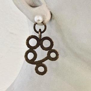 bronce ohrhänger mit perle