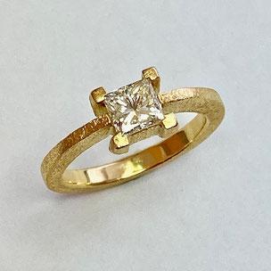 goldring mit princess diamant