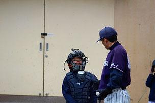 新キャッチャー候補のKYOU君。Iコーチもとても褒めていました。