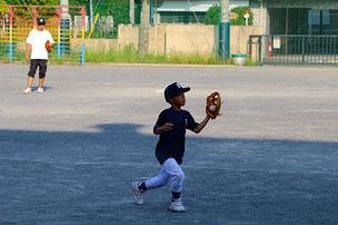 いつの間にかレギュラーチームのノック練習を抜けて、低学年ゲームに参加していた自由人のKYOU君でした。