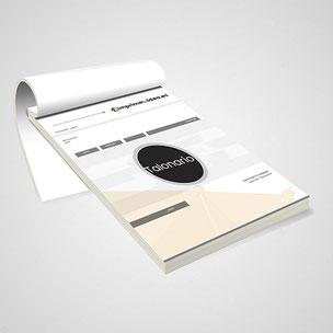 Talonarios de albaranes, facturas, pedidos... En papel químico copiativo. Grapado y perforado. Numeración opcional.