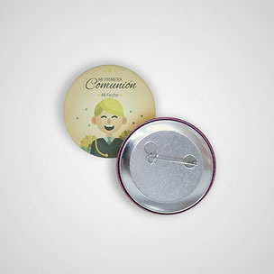 Chapas personalizadas de alfiler o de imán. Impresión a todo color más laminado sobre el soporte de 5,5 cm de diámetro.
