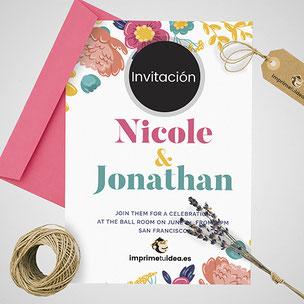 Invitaciones de boda, para celebraciones o cualquier tipo de evento. Con o sin sobre. Distintos tamaños y calidades.
