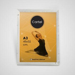 Carteles impresos a todo color en tamaños A4 o A3, papel estucado brillo de 135 gr.