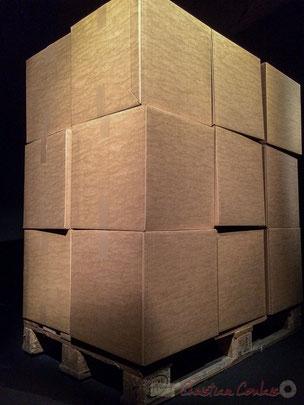œuvre sonore de Zimoun, artiste contemporain suisse (palette, cartons, motorisation)