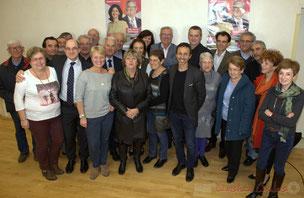 Photographie souvenir de cette campagne électorale, aux élections départementales 2015, anciens et nouveaux élus du canton de Créon